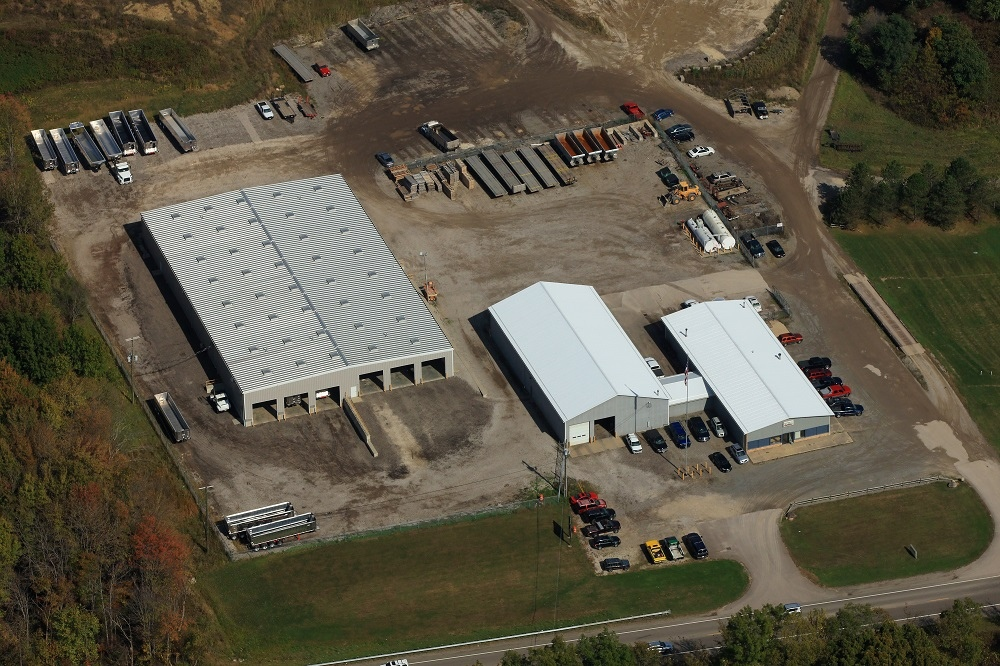 aerial view of Linings Inc. facility with several buildings