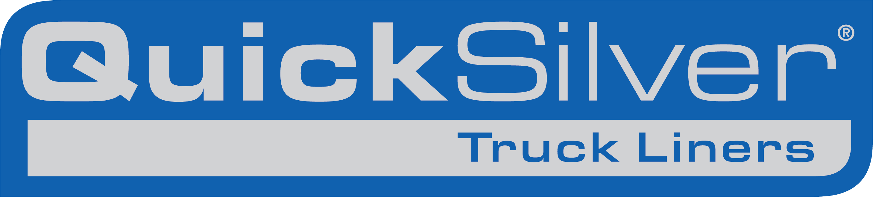 blue and white logo of Quicksilver truck liners logo